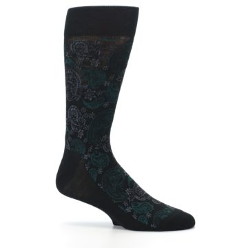 Image of Black Grey Green Paisley Men's Dress Socks (side-1-25)