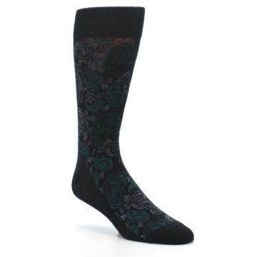 Image of Black Grey Green Paisley Men's Dress Socks (side-1-27)