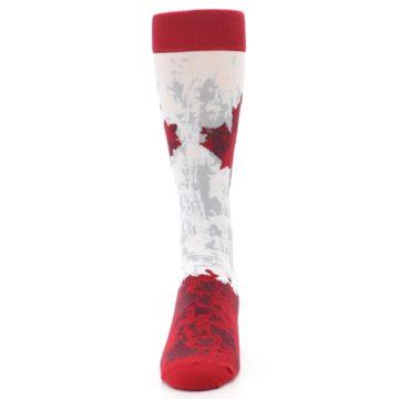 Image of White Red Canada Leaf Men's Dress Socks (front-05)