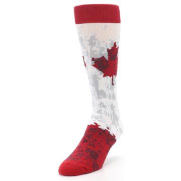 Image of White Red Canada Leaf Men's Dress Socks (side-2-front-07)