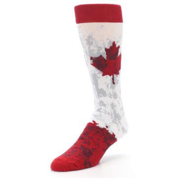 Image of White Red Canada Leaf Men's Dress Socks (side-2-front-08)