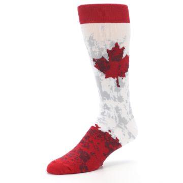 Image of White Red Canada Leaf Men's Dress Socks (side-2-09)