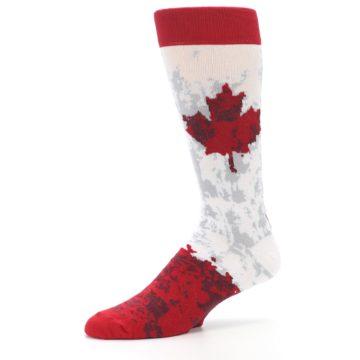 Image of White Red Canada Leaf Men's Dress Socks (side-2-10)