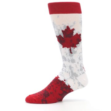 Image of White Red Canada Leaf Men's Dress Socks (side-2-11)