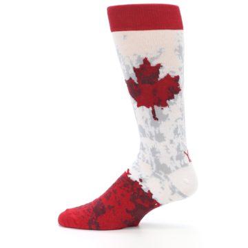 Image of White Red Canada Leaf Men's Dress Socks (side-2-12)