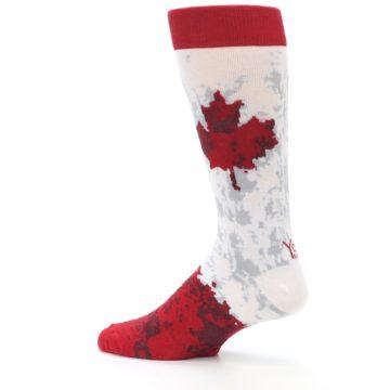 Image of White Red Canada Leaf Men's Dress Socks (side-2-13)