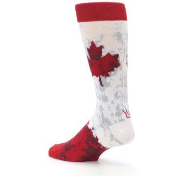 Image of White Red Canada Leaf Men's Dress Socks (side-2-back-14)