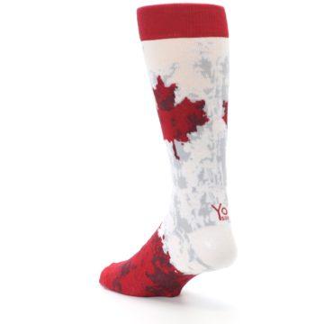 Image of White Red Canada Leaf Men's Dress Socks (side-2-back-15)