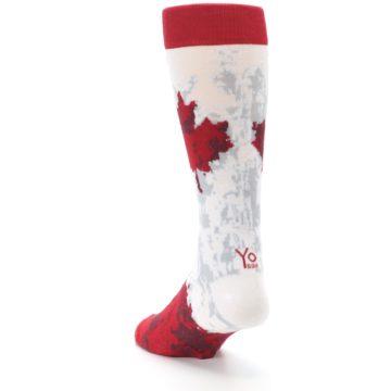 Image of White Red Canada Leaf Men's Dress Socks (side-2-back-16)