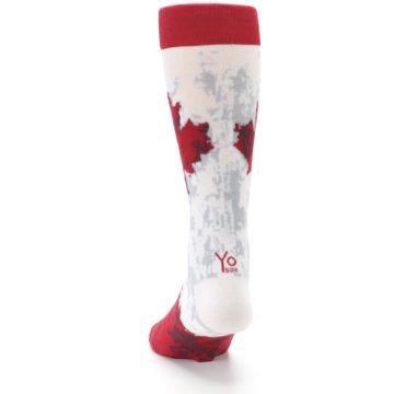 Image of White Red Canada Leaf Men's Dress Socks (back-17)