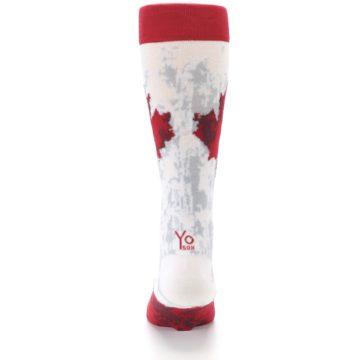 Image of White Red Canada Leaf Men's Dress Socks (back-18)