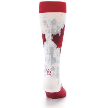 Image of White Red Canada Leaf Men's Dress Socks (back-19)
