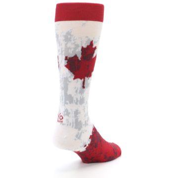 Image of White Red Canada Leaf Men's Dress Socks (side-1-back-21)