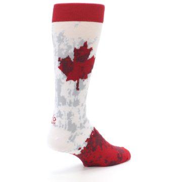 Image of White Red Canada Leaf Men's Dress Socks (side-1-back-22)