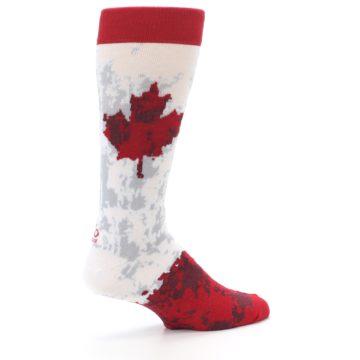 Image of White Red Canada Leaf Men's Dress Socks (side-1-23)