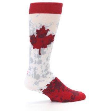 Image of White Red Canada Leaf Men's Dress Socks (side-1-24)