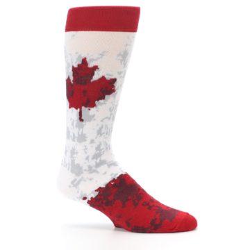 Image of White Red Canada Leaf Men's Dress Socks (side-1-25)