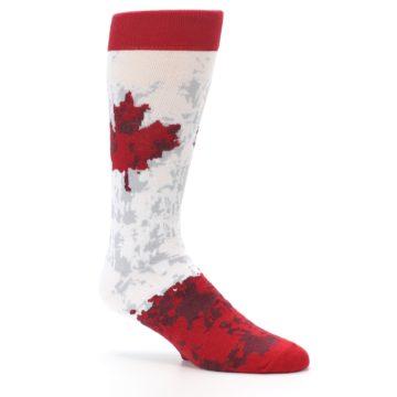 Image of White Red Canada Leaf Men's Dress Socks (side-1-26)