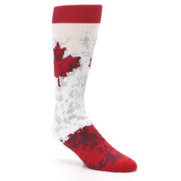 Image of White Red Canada Leaf Men's Dress Socks (side-1-27)