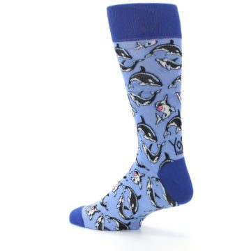 Image of Blue Killer Whales Men's Dress Socks (side-2-back-14)