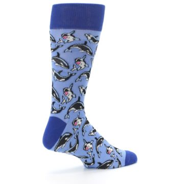 Image of Blue Killer Whales Men's Dress Socks (side-1-23)