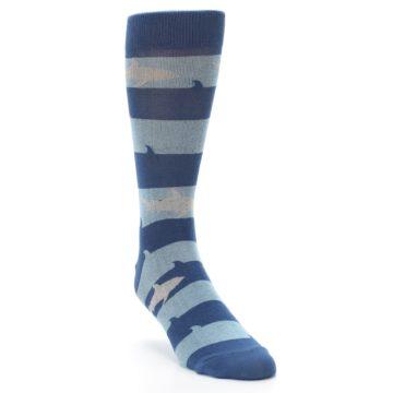 Image of Blue Light-Blue Sharks Men's Dress Socks (side-1-front-02)