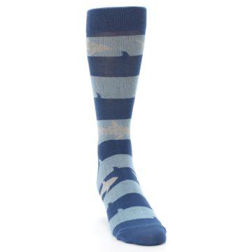 Image of Blue Light-Blue Sharks Men's Dress Socks (side-1-front-03)