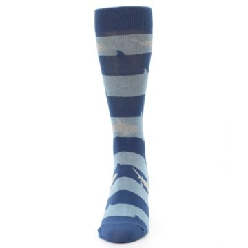 Image of Blue Light-Blue Sharks Men's Dress Socks (front-05)