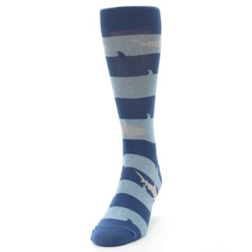 Image of Blue Light-Blue Sharks Men's Dress Socks (side-2-front-06)