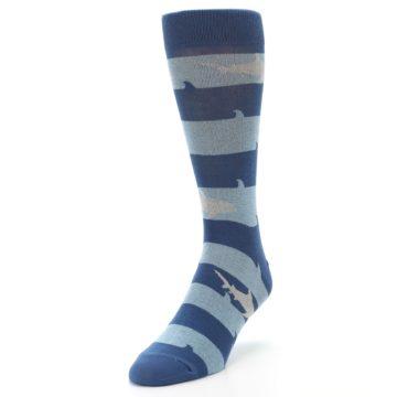 Image of Blue Light-Blue Sharks Men's Dress Socks (side-2-front-07)