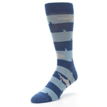 Image of Blue Light-Blue Sharks Men's Dress Socks (side-2-front-08)