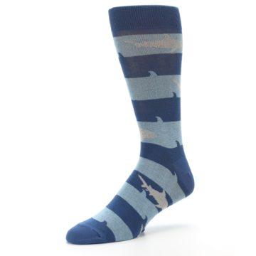 Image of Blue Light-Blue Sharks Men's Dress Socks (side-2-09)