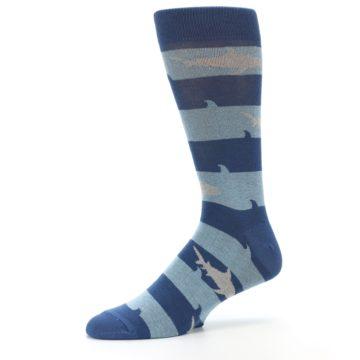 Image of Blue Light-Blue Sharks Men's Dress Socks (side-2-10)