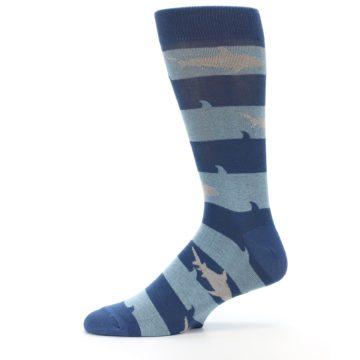 Image of Blue Light-Blue Sharks Men's Dress Socks (side-2-11)