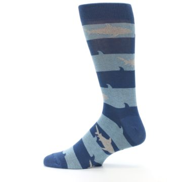 Image of Blue Light-Blue Sharks Men's Dress Socks (side-2-12)