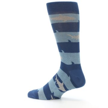 Image of Blue Light-Blue Sharks Men's Dress Socks (side-2-13)