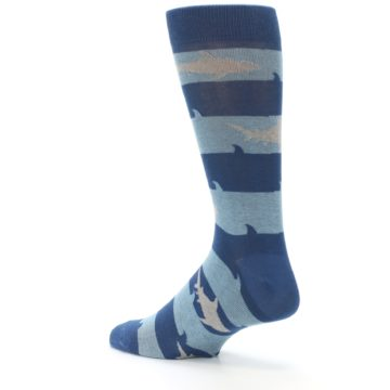 Image of Blue Light-Blue Sharks Men's Dress Socks (side-2-back-14)