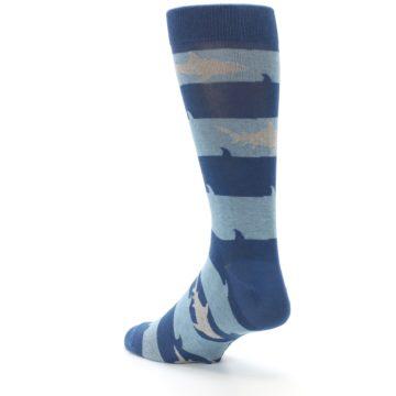 Image of Blue Light-Blue Sharks Men's Dress Socks (side-2-back-15)
