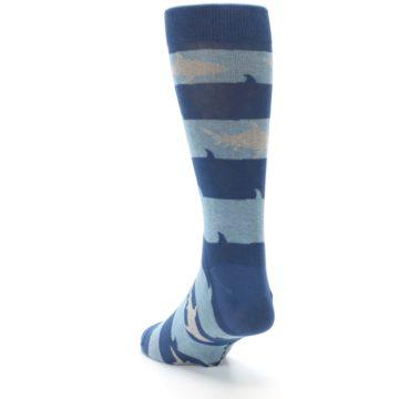 Image of Blue Light-Blue Sharks Men's Dress Socks (side-2-back-16)