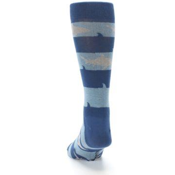 Image of Blue Light-Blue Sharks Men's Dress Socks (back-17)