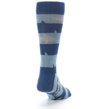 Image of Blue Light-Blue Sharks Men's Dress Socks (side-1-back-20)