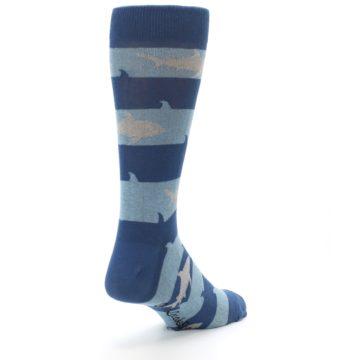 Image of Blue Light-Blue Sharks Men's Dress Socks (side-1-back-21)
