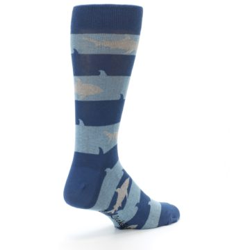 Image of Blue Light-Blue Sharks Men's Dress Socks (side-1-back-22)