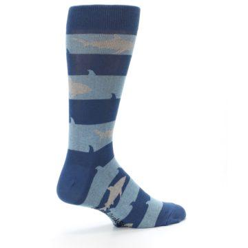Image of Blue Light-Blue Sharks Men's Dress Socks (side-1-23)