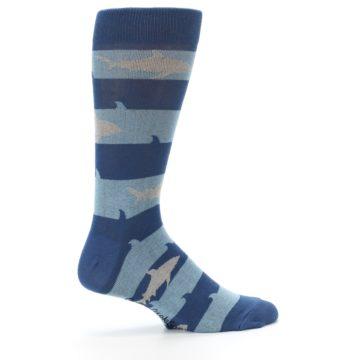 Image of Blue Light-Blue Sharks Men's Dress Socks (side-1-24)