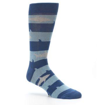 Image of Blue Light-Blue Sharks Men's Dress Socks (side-1-26)