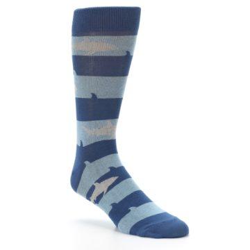 Image of Blue Light-Blue Sharks Men's Dress Socks (side-1-27)
