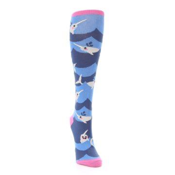 Image of Blue Narwhal Women's Knee High Socks (side-1-front-03)