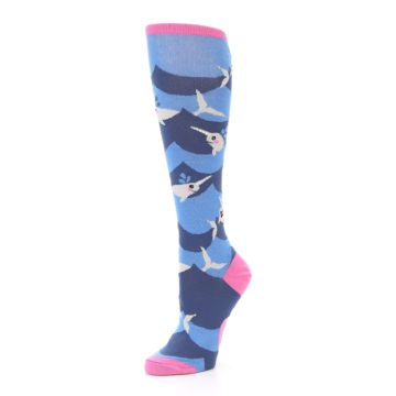 Image of Blue Narwhal Women's Knee High Socks (side-2-09)