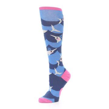 Image of Blue Narwhal Women's Knee High Socks (side-2-10)